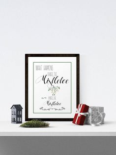 Under the mistletoe. Instant download. Christmas poster. Christmas artwork. Typography. Printable Art. Wall Art. Christmas print by PurpleDonkeyCreative on Etsy https://www.etsy.com/uk/listing/570028895/under-the-mistletoe-instant-download