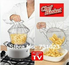 Free shipping  kitchen chef basket/Chef Basket Deluxe Kitchen Colander Cooking Expandable as seen on TV(No Box)