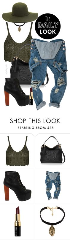 """""""Untitled #164"""" by taistyledit ❤ liked on Polyvore featuring Gucci, Jeffrey Campbell, Bobbi Brown Cosmetics, Vanessa Mooney, denim, ootd, overalls and distressed"""