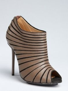 taupe leather and suede stripe 'Bindi' peep toe booties