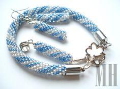 Niebiesko srebrny komplet.   MH Biżuteria - cuda ręcznie wykonane