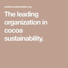 The leading organization in cocoa sustainability.