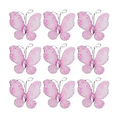 LEORX Sheer Mesh Wire Glitter Butterfly with Gem 50pcs  Pink -- Learn more by visiting the image link.Note:It is affiliate link to Amazon.