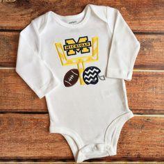 Applique Michigan Football Shirt or Onesie Field by SimplySweet17