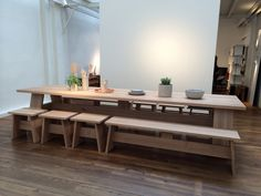 New furniture by David Chipperfield for e15 - Fayland table, Fawley bench and Langley stool.