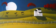 SOLD $99.00 or make an offer - Original Painting Folk Art Landscape Modern Minimalism Horses Moon Naive Farm | eBay