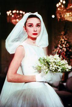 Audrey Hepburn in a Givenchy wedding dress, 1956.