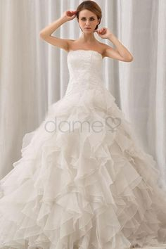 Ballkleid Spitze Kristall Organza Organza volle länge aufgeblähtes trägerloses Brautkleid