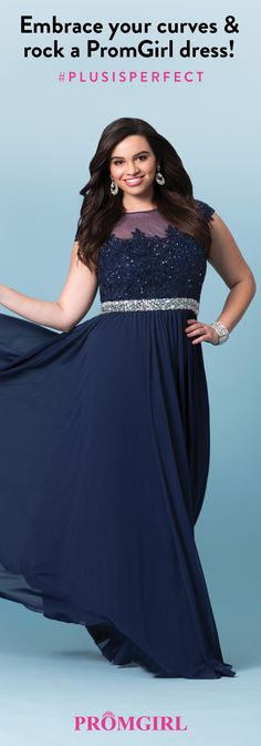 Show off that hour glass shape from a fabulous selection of plus size prom dresses from PromGirl.com!