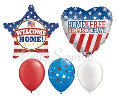 Patriotic Balloon Package Welcome Home! Home of the Free Red White Blue Balloons Military Hero Balloon Bouquet Army Marines Air Force Navy