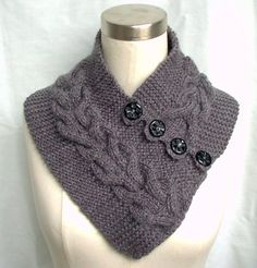 hand knit neck scarf | Neck Warmer Scarf Gray Hand Knit Cables Buttons Women…