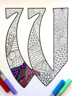 Letter W Zentangle Inspired by the font Deutsch by DJPenscript
