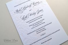 Beautiful Floral Letterpress PRINTED wedding by ChelseaPress on Etsy