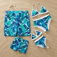 Tropical Leaves Family Matching Swimsuit Source by patpatshopping beachwear Summer Bathing Suits, Girls Bathing Suits, Mermaid Outfit, Really Cute Outfits, Kids Swimwear, Cute Swimsuits, Summer Bikinis, Girls Fashion Clothes, Matching Family Outfits