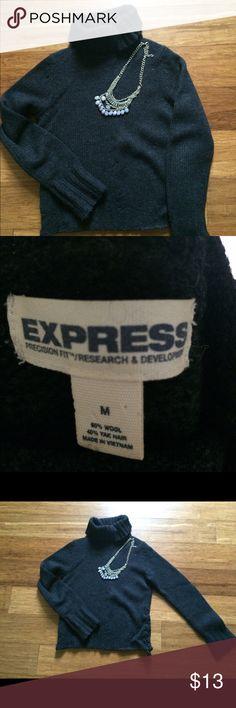 Express sweater, medium Dark gray express sweater w cute detail at the waist. Express Sweaters Cowl & Turtlenecks