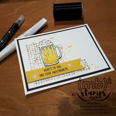 Masculine Amazingness card by Merit Brown, Independent Demonstrator for Stampin' Up!® featuring the Mixed Drinks and Timeless Textures Stamp Sets