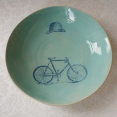 victorian bicycle bowl: love the nod to Magritte
