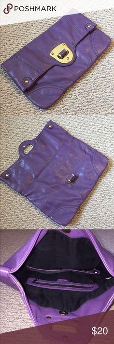 Purple and Gold Clutch Purple and gold leather foldover clutch Bags Clutches & Wristlets