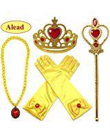 Alead Prinzessin Verkleiden Sich Belle Gelb 4 Stück Geschenk-Set Diadem,Handschuhe,Zauberstab,Halskette(Rot/Gold)
