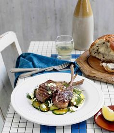 Australian Gourmet Traveller recipe for char-grilled lamb with zucchini, feta and dill by Pireaus Blues, Fitzroy, Vic.