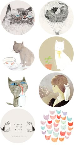 Cat drawings (from Tabitha Emma's blog)