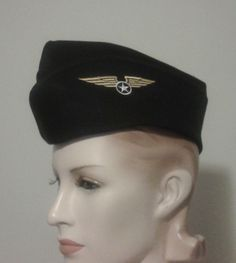 5c9e88c0fc78f Pinup Military Hat with Wings Patch Steampunk Hat Black Vintage Style WWII  Flight Cap Garrison Hat
