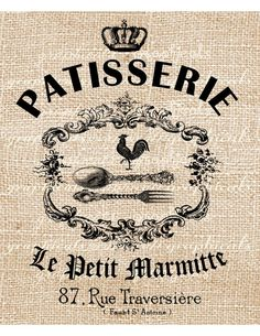 Paris digital download vintage Patisserie ad rooster by graphicals, $1.00