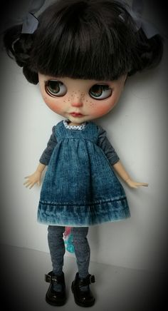Blythe in denim custom MinniebloomerDesigns