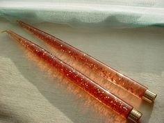 2 VTG Lucite Acrylic Decorative Tapered Candles Amber w Gold Glitter 14 inch Seller florasgarden on ebay