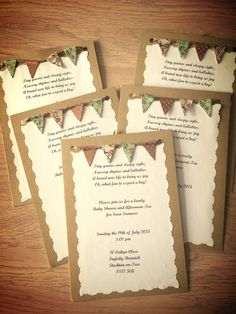 My DIY Rustic Baby Shower Invitations Bunting made with twine and Washi tape. Idea inspired by http://www.shesowsseeds.com/2014/05/06/bunting-baby-shower-invites/