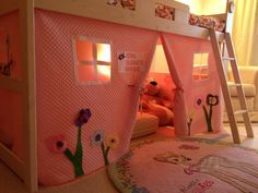 Loft bed tent that I made for my daughter.