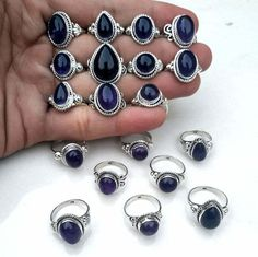 Lot Mix Shape, US Size, Mix Natural Amethyst Gemstone, 925 Sterling Silver Plated Ring Handmade Rings, Handmade Sterling Silver, Sterling Silver Rings, Silver Jewelry, Amethyst Gemstone, Purple Amethyst, Turkish Jewelry, Rings For Girls, Antique Rings