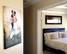 love the idea of printing your wedding vows or the story of your love along with your wedding portrait onto a canvas!