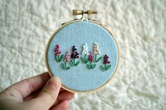Mini Wildflower Embroidery Hoop  3 inch Wall by BreezebotPunch