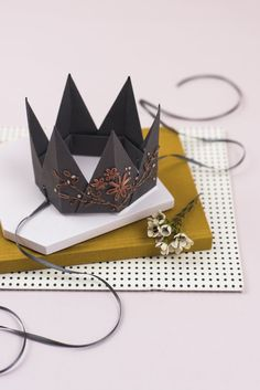 FLORAL PARTY CROWN Origami Folding, Stationery, Crown, Floral, Party, Crafts, Beautiful, Jewelry, Products