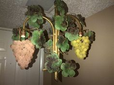 You are buying three.  Offered is an early glass grape cluster chandelier that is simply stunning. The fixture features two large grape clusters. Just