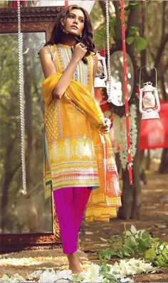 WYOT- 992 - YELLOW - Embroidery Designer 3PC Lawn Suit With Chiffon Dupatta
