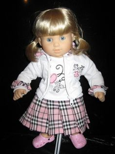 T-Shirt Dress, and Matching Hoodie Pink Plaid for American Girl Bitty BABY from weeline.com $15.00