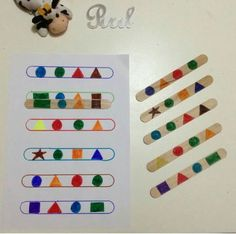 Lolly-pop stick shape pattern match-up activity Preschool Learning Activities, Toddler Activities, Preschool Activities, Dinosaur Activities, Montessori Materials, Kids Education, History Education, Teaching History, Kids And Parenting