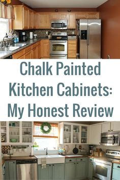 Chalk Painted Kitchen Cabinets: 2 Years Later It's been two years since I chalk painted our kitchen cabinets. Here's the top 10 questions I get about my chalk painted kitchen cabinets: What did you use? Originally, I used Annie Sloan Chalk Paint in Old Chalk Paint Kitchen, Painting Kitchen Cabinets, Kitchen Inspirations, Chalk Paint Cabinets, Kitchen Cabinets Reviews, Chalk Paint Kitchen Cabinets, Diy Kitchen, Kitchen Renovation, Kitchen Paint