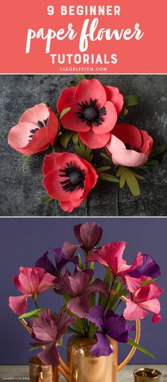 9 Paper Flowers for Beginners - www.liagriffith.com #diyinspiration #diyidea #diyideas #paperflower #paperflowers #crepepaperflowers #crepepaperrevival #madewithlia