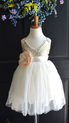 Hey, I found this really awesome Etsy listing at https://www.etsy.com/listing/240066363/gold-ivory-tulle-flower-girl-dress