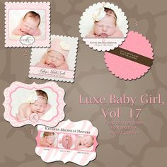 LUXE Baby Birth Announcement Photoshop PSD by rememberwhendesign, $12.00