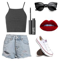 """Untitled #45"" by sara910 ❤ liked on Polyvore featuring Topshop, Converse and NARS Cosmetics"