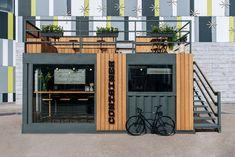 Cafe Shop Design, Coffee Shop Interior Design, Kiosk Design, Restaurant Interior Design, House Design, Container Home Designs, Container House Plans, Casa Bunker, Shipping Container Cafe