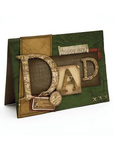 Great use of die cut letters! Cool Cards, Men's Cards, Hand Made Greeting Cards, Father's Day Diy, Fathers Day Crafts, Beautiful Handmade Cards, Birthday Cards For Men, Papi, Scrapbook Cards