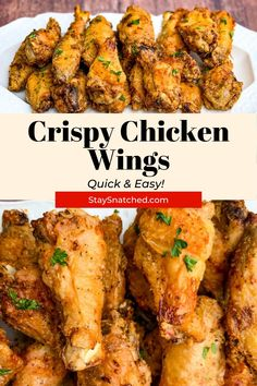 These Crispy Air Fryer Fried Chicken Wings can be made using fresh or frozen wings! This dish is seasoned with a dry rub and tossed in baking powder to get them nice and crunchy! Deep Fried Recipes, Air Fry Recipes, Air Fryer Dinner Recipes, Delicious Dinner Recipes, Appetizer Recipes, Dishes Recipes, Keto Recipes, Air Fryer Fried Chicken, Making Fried Chicken