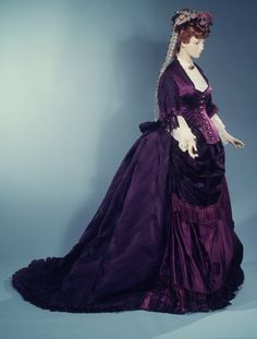 "Afternoon dress, 1872...William Henry Perkin discovered the first synthetic dye in 1856 while searching for a cure for malaria, ""mauve"", a brilliant fuchsia colour. The invention was used in fashion"