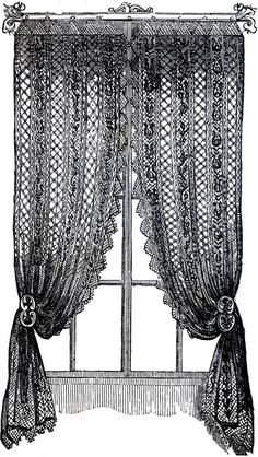 Vintage Lace Curtains Clip Art! - The Graphics Fairy