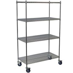 Storage Concepts 4-Shelf Wire Shelving Mobile Unit in Chrome (Price Varies by Size) - WCC4-1848-63 at The Home Depot 69 x 48 x 18 (too wide?) $190